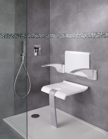 white grey shower seat and backrest