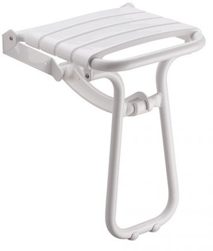 White Slatted Shower Seat