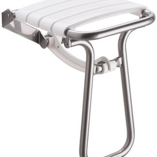 White Chrome Slatted Shower Seat