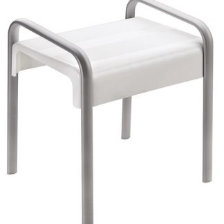 White Grey Shower Stool