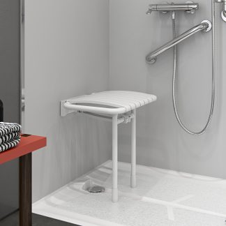 Bama White Slatted Shower Seat