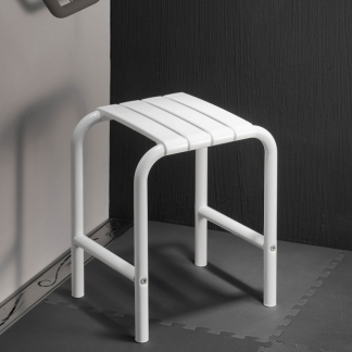 White Slatted Shower Stool